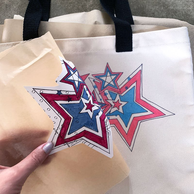 adding infusible ink to a tote bag