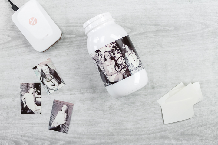 how to put photos on a glass jar