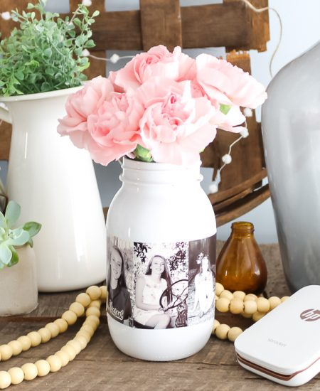 mason jar with photos attached