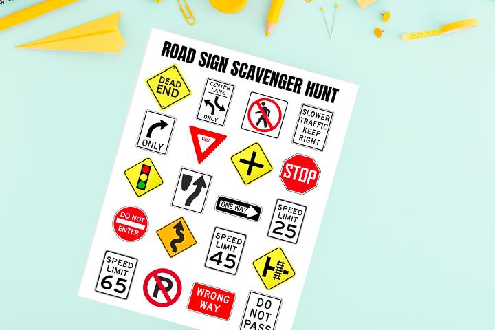 road sign scavenger hunt