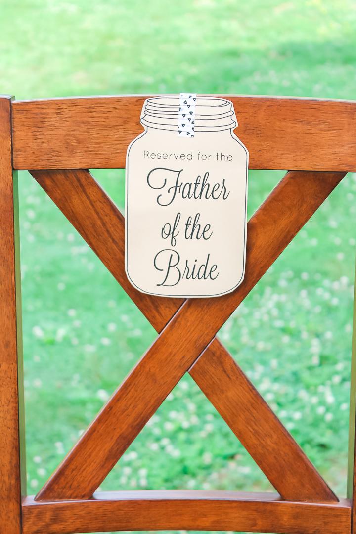 wedding chair signs printable