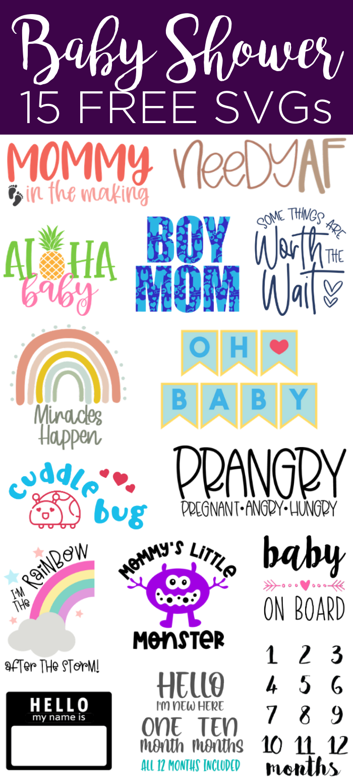15 free baby shower SVG files including maternity shirts and so much more! A great collection perfect for your Cricut! #cricut #cricutcreated #babyshower #maternity #pregnancy #svgfiles #svg #freesvg #cutfiles
