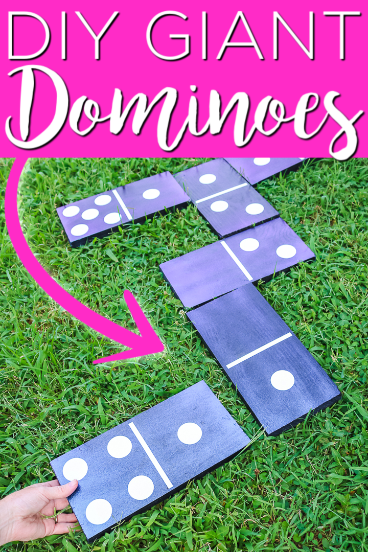 Make these DIY dominoes from boards for a backyard game the entire family will love. Giant dominoes are also great for parties and more! #dominoes #diy #colorshift #wood #woodprojects #cricut #cricutcreated