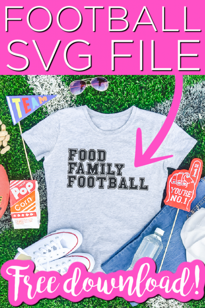 A great collection of free football SVG files including a cute food, family, football SVG. You will find a football cut file perfect for every member of your family to wear this fall! #fall #football #svgfile #freesvg #cricut #cricutcreated #cutfile #freecutfile