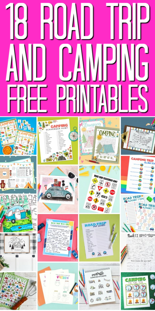 18 free printables for road trips and camping