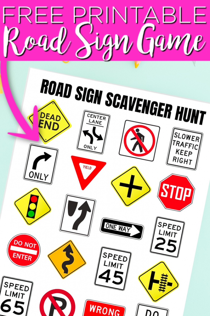 This printable road sign game is perfect for the kids! Print this along with other free road trip printables to make your long trip a huge success! #roadtrip #printable #freeprintable #summer #game #printablegame #gameidea #scavengerhunt