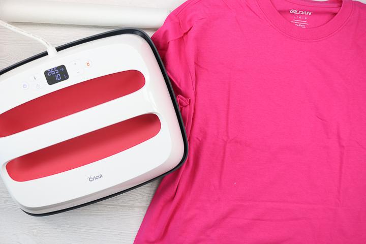 pressing sublimation design on a cotton shirt