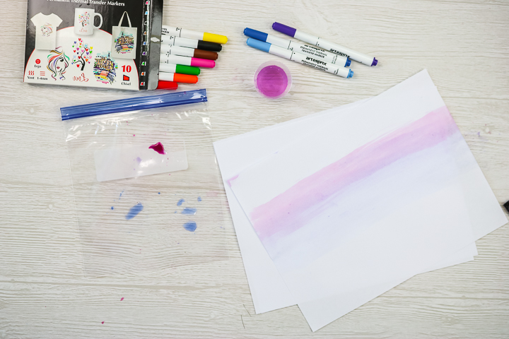 watercolor effect with sublimation markers