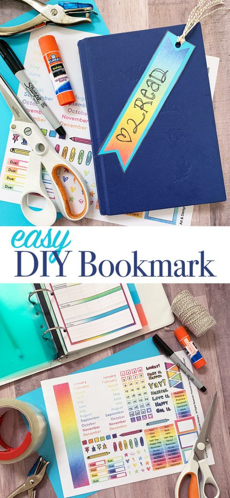 Make this easy DIY bookmark in minutes with a free printable planner page. Then add it to a book or even your planner! #bookmark #reading #planner