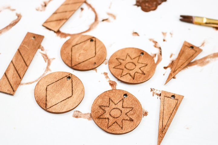 stained wood earrings