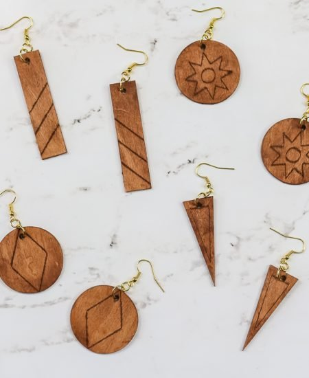 wood earrings made with a cricut