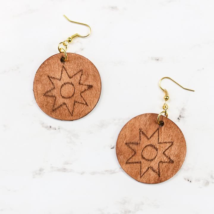 engraved wood earrings