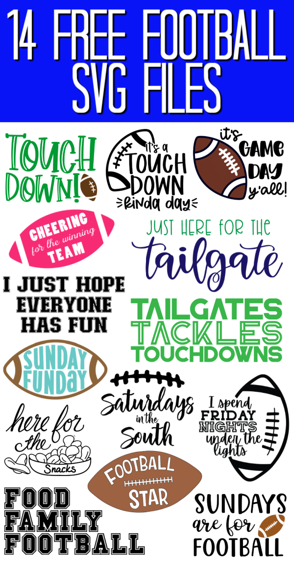14 free football SVG files for your Cricut or Silhouette machine! The perfect way to celebrate football season with custom shirts, bags, hats, and so much more! #svg #svgfile #freesvg #cutfile #freecutfile #football #cricut #cricutcreated