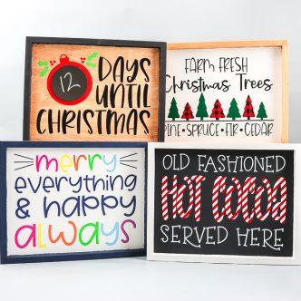 layered vinyl holiday signs