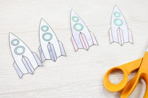cut out rockets printed on paper
