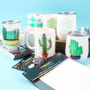 mugs and tumblers with sublimated ink