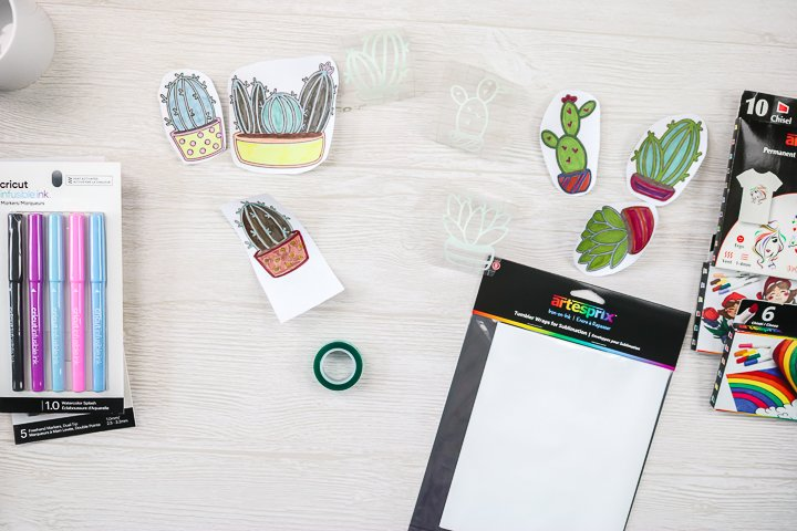 designs colored with sublimation markers