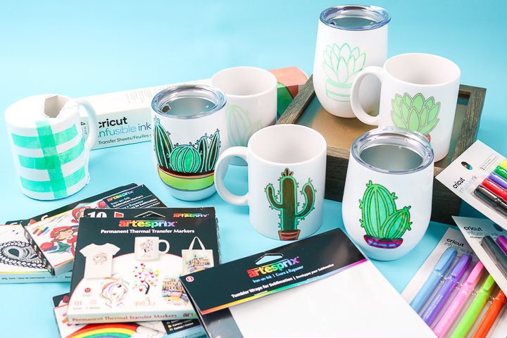 mugs after sublimation ink is applied