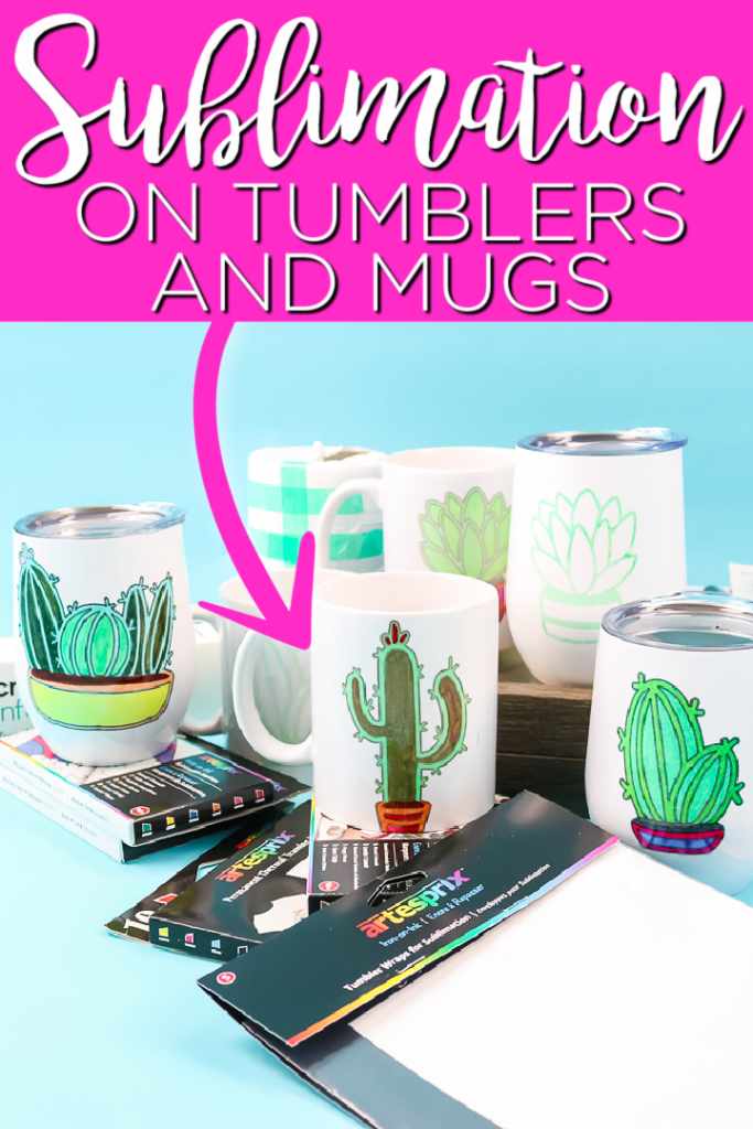 Ever wanted to do sublimation on mugs or tumblers? We are sharing how to do just that with a small counter top oven! You will love how easy this is! #sublimation #mugs #tumblers #cactus
