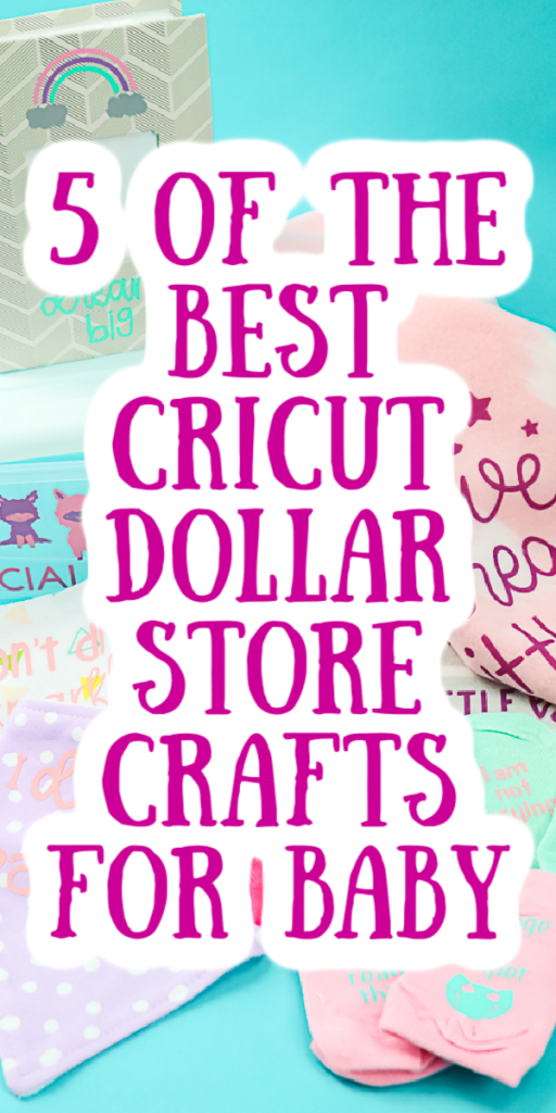 Make these 5 baby shower crafts for baby that all use dollar store supplies. Break out your Cricut machine and get started on making these cute baby gift ideas! #cricut #cricutcreated #dollarstore #dollarstorecrafts #babyshower #babygifts