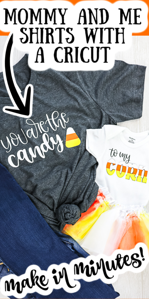 Make these mommy and me shirts in minutes with Siser HTV and your Cricut machine! So easy to make and perfect for fall with a candy corn theme! #fall #mommyandme #cricut #cricutcreated #halloween