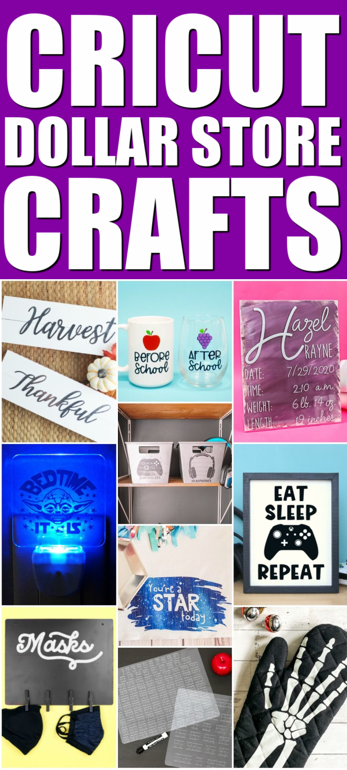 10 Cricut dollar store crafts you have to see to believe! Amazing craft projects you can make for less with dollar store supplies! #dollarstore #dollarstorecrafts #cricut #cricutmade #cricutcreated