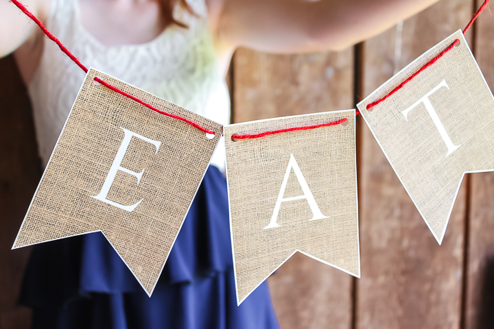 Paper banner with a burlap pattern