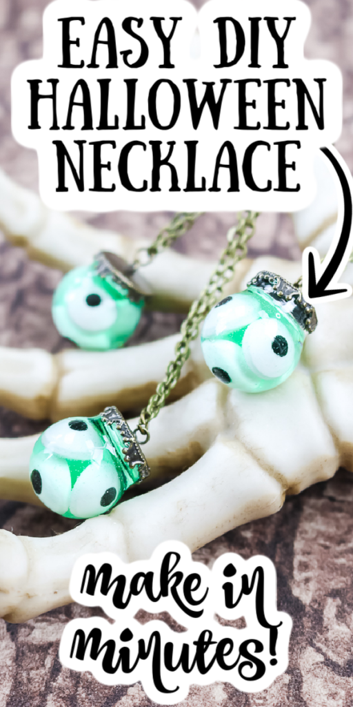 Make this DIY resin pendant for Halloween this year! This is the perfect eyeball Halloween necklace for parties and so much more! #diy #resin #necklace #halloween