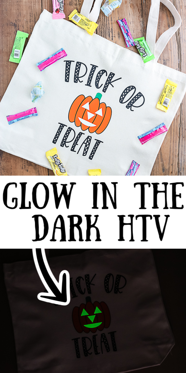 Learn how to use glow in the dark HTV for all of your Cricut projects. This material is perfect for Halloween crafts as well! #glowinthedark #cricut #cricutcreated #halloween #trickortreat #htv #heattransfervinyl