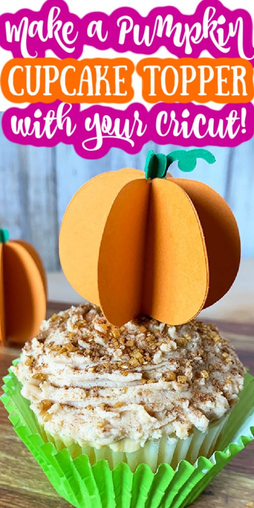 Make a pumpkin cupcake topper with your Cricut for all of your Halloween and fall get togethers! Easy to make and perfect for autumn! #pumpkin #cricut #cricutmade #papercrafts