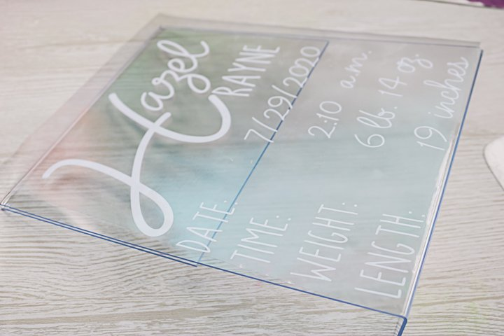cricut vinyl on acrylic sign