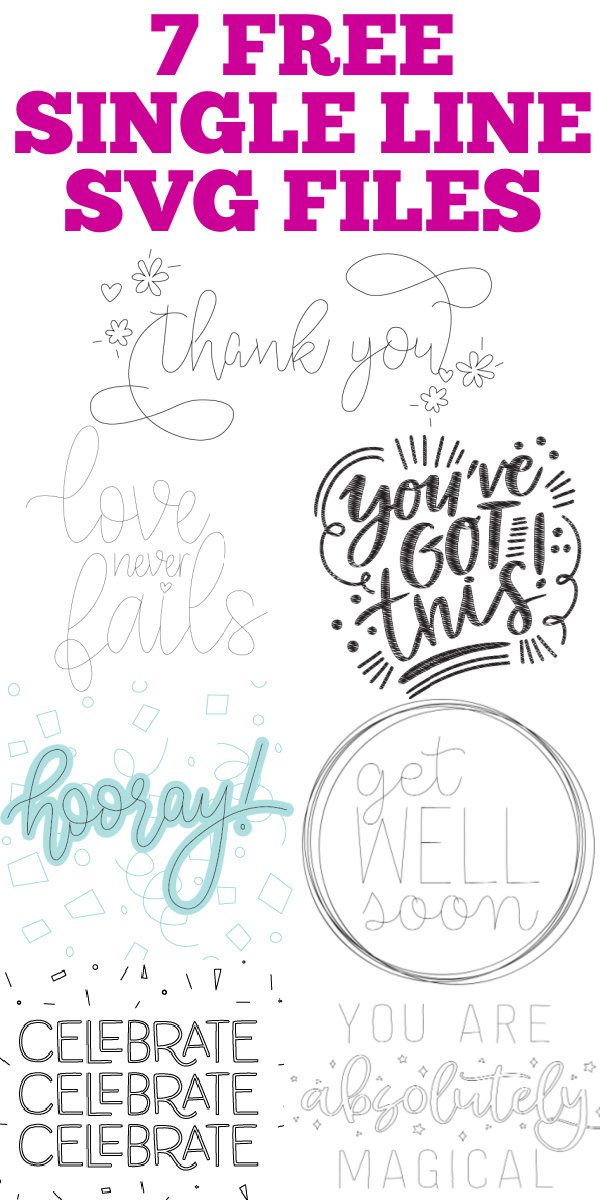 download 7 free single line SVG files for your foil and engraving projects on your Cricut machine