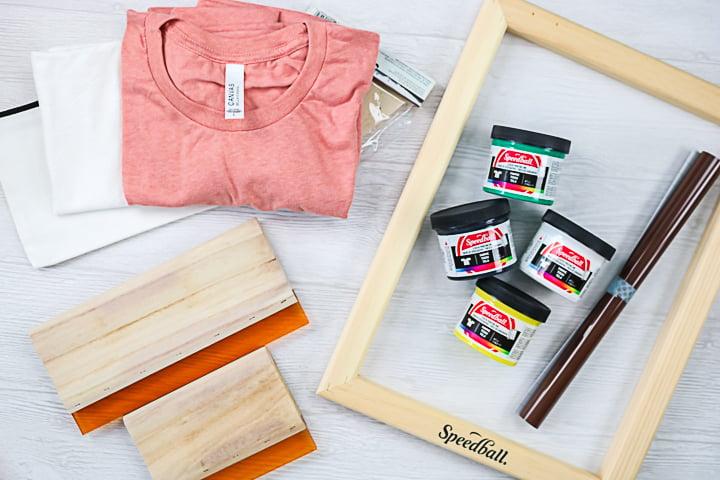 supplies to silk screen with a cricut