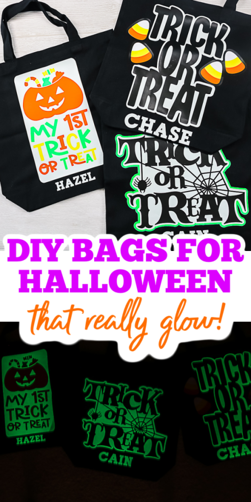 Make your own DIY Halloween bags in minutes with some tote bags and HTV. Your Cricut makes this project easy to personalize with a name as well! #cricut #cricutmade #cricutcreated #trickortreat #halloween #glowinthedark