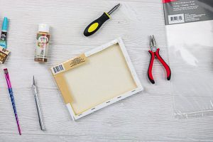 using the wood frame inside of a stretched canvas