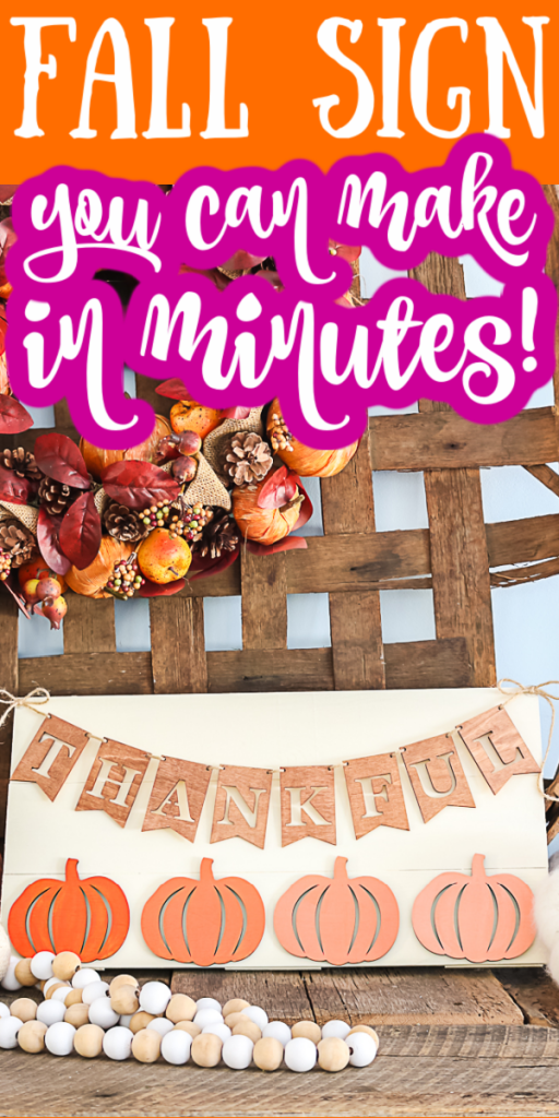Learn how to make a fall wooden sign in minutes with this easy DIY tutorial. Add a gradient paint effect to pumpkins on a rustic farmhouse style decor sign! #farmhouse #farmhousestyle #decor #homedecor #fall #autumn #diy