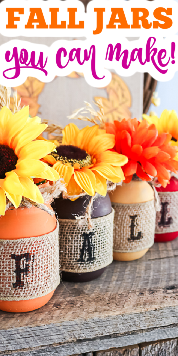 Make these fall mason jars in minutes with this easy tutorial! Anyone can make these jars for their fall home decor! #fall #masonjars #homedecor #rustic