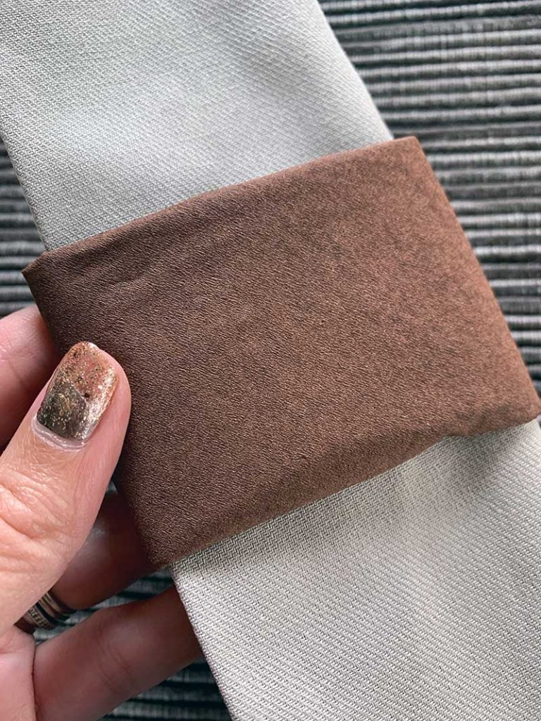 paper napkin used as a napkin ring