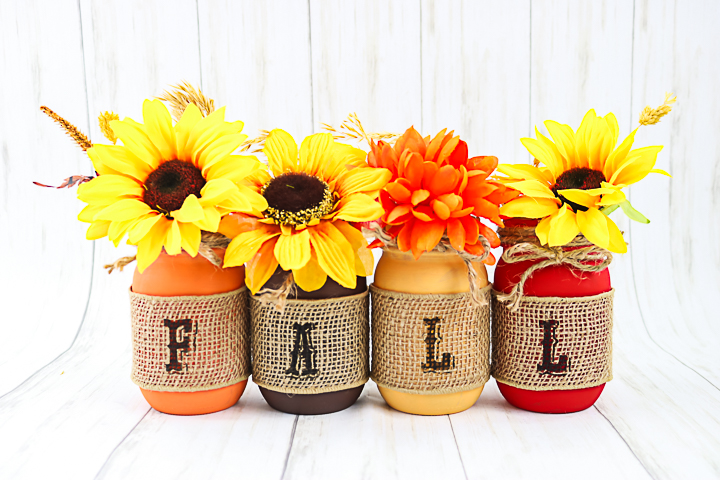 mason jars in fall colors