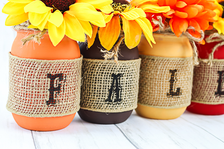 burlap ribbon around mason jars