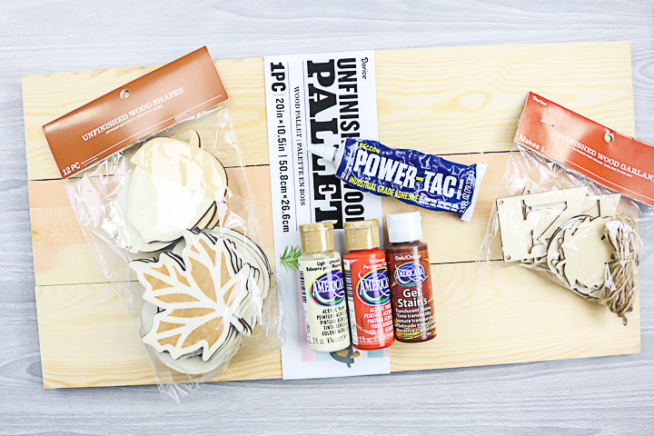 supplies to make a fall sign from wood