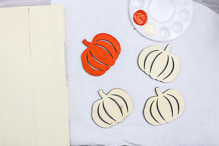 painting wood pumpkins