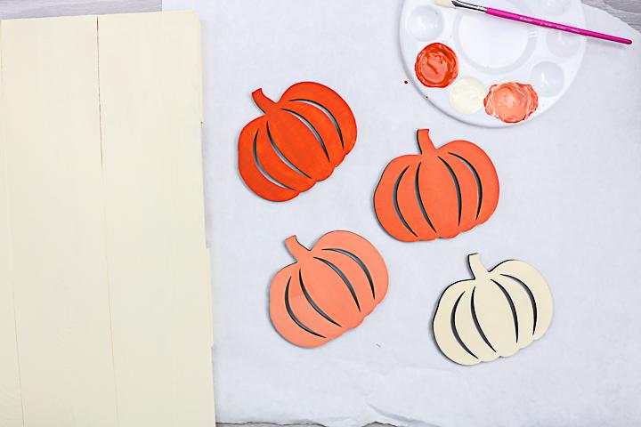 ombre paint effect on pumpkins