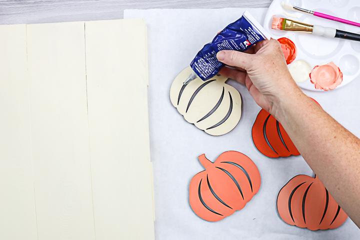 using glue on wood pumpkins