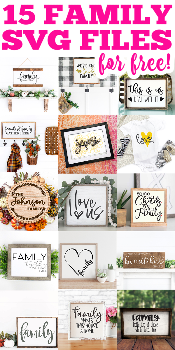 Get 15 free family cut files for your Cricut machine! Use these SVG files to make projects for your home or to add to a shirt! #family #familysvg #svg #svgfiles #cutfiles #cricut #cricutmade