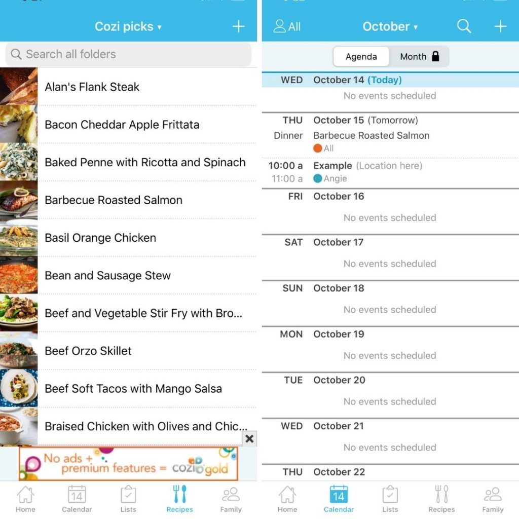 meal planning on cozi app
