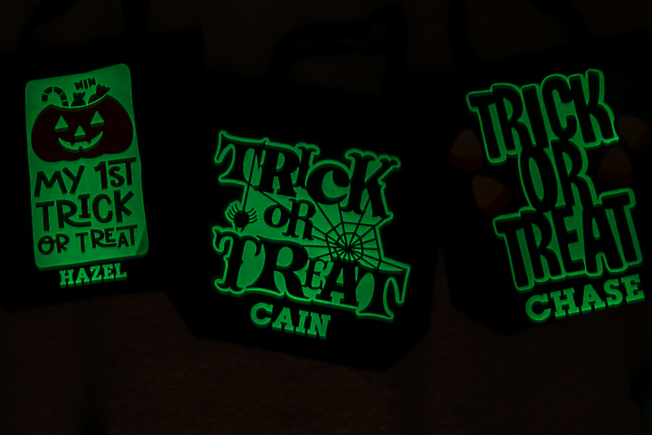 glow in the dark htv on bag