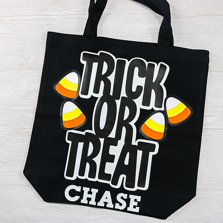 trick or treat bag with candy corn