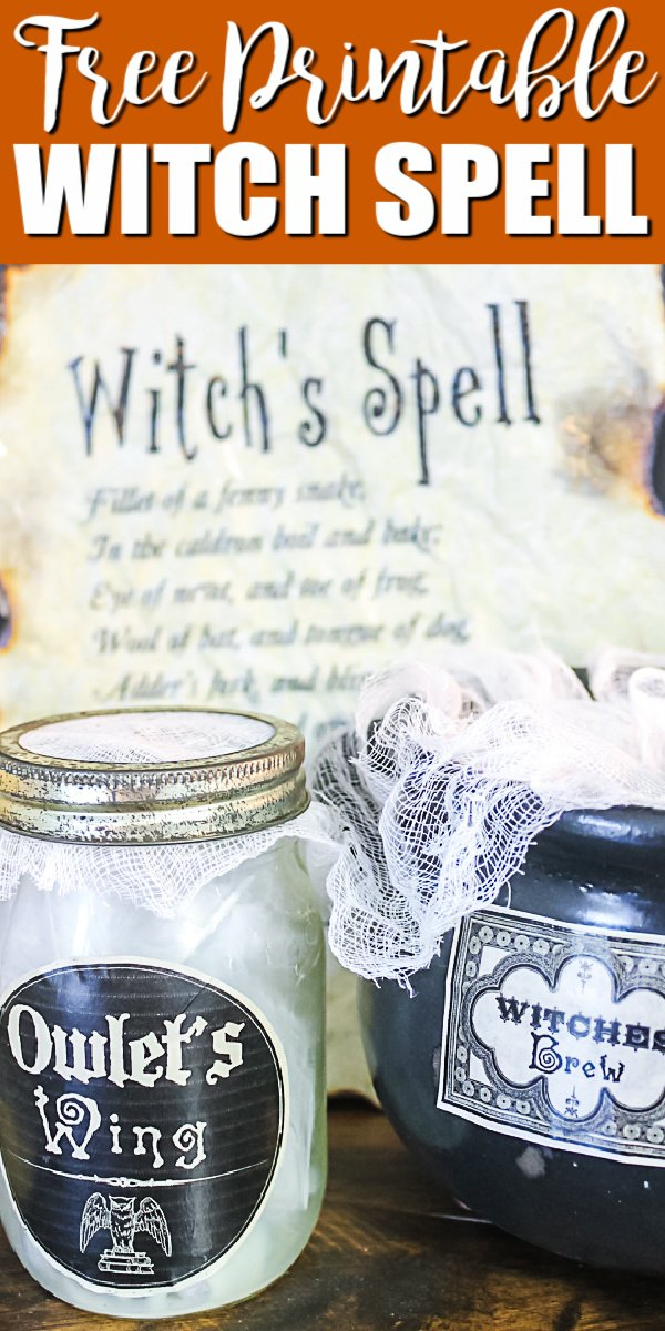 Get this free printable spell book page and add it to your Halloween decor! Halloween potion label printables as well! #halloween #spellbook #freeprintable #printable