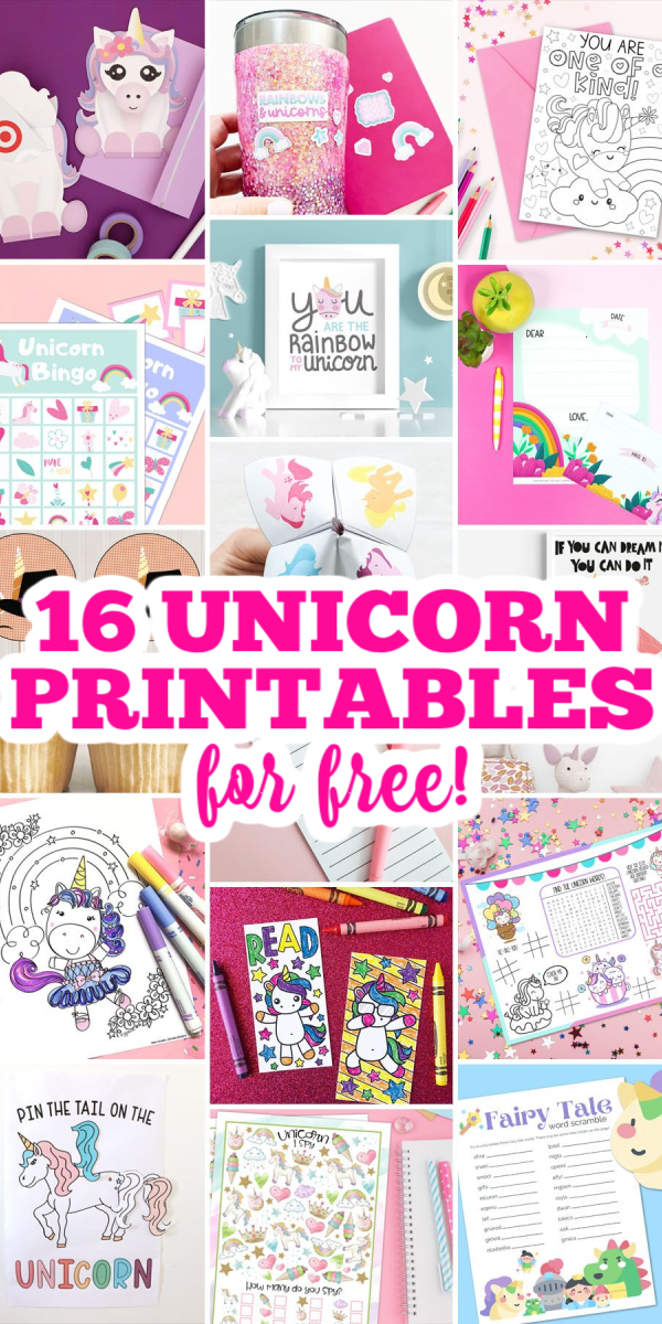 16 unicorn printables for free! Kids and adults will love these free printables! #printables #freeprintables #unicorn #unicornprintables